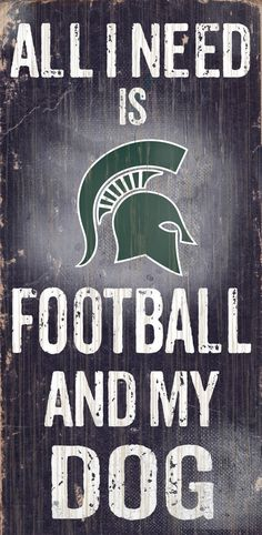 """Michigan State Spartans Wood Sign - Football and Dog 6""""x12"""""""