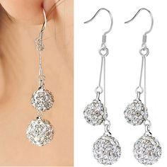 2015 Trendy Brand Silver Alloy Crystal Earrings Double Balls Dangle Earrings Fashion For Women Statement Jewelry