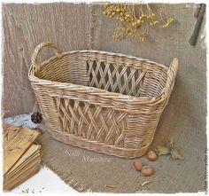 "Корзина плетеная ""Rustic"" - бежевый,плетеная корзина,ажурный узор,корзина для рукоделия"