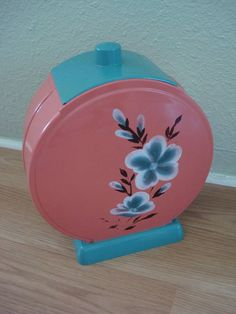 1950s Hard Plastic Pink and Green Cookie Jar Kitchen Canister 2012314