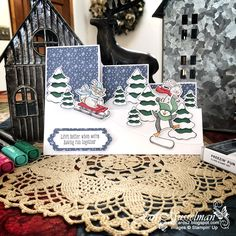 Fun Fold Cards, Cool Cards, Folded Cards, Stampin Up Christmas, Christmas Cards To Make, Holiday Cards, Step Cards, Stamping Up Cards, Homemade Cards