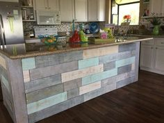 kitchen island on cedar fence boards