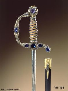 Court sword with scabbard (sapphire set) Dinglinger workshop of Johann Melchior (jeweler) Dresden, 1722 to 3rd Decade of the 18th century.