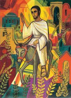 Jesus enters Jerusalem Banner Author/Artist: The Benedictine Sisters of Turvey Abbey