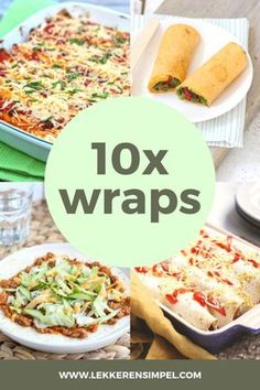 In this article you will find 10 tasty and simple recipes with wraps. Such as a lunch wrap, Turkish pizza wrap, vegetarian enchilada and wraps with minced meat from the oven. Good Healthy Recipes, Quick Recipes, Healthy Snacks, Vegetarian Recipes, Delicious Recipes, Pizza Wraps, Good Food, Yummy Food, Taco