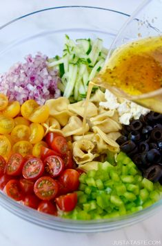Ready to taste the rainbow? If big, bold salads centered around cheesy carbs are your thing, then allow me to introduce you to your new BFF: Greek Tortellini Pasta Salad. Tortellini Recipes, Pasta Salad Italian, Pasta Salad Recipes, Recipe Pasta, Warm Pasta Salad, Rainbow Pasta, Pasta Salad Ingredients, Pasta Sides, Recipes