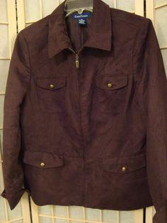 Nice Evan-Picone Sz 16 Women's Brown Faux Suede Zip Front Jacket W/Pockets #EvanPicone #BasicJacket