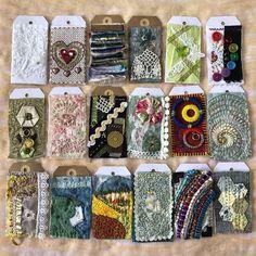 Journal Art, Art Journals, Junk Journal, Basic Hand Embroidery Stitches, Embroidery Ideas, Little Cottages, Altered Book Art, Tag Art, Fabric Art