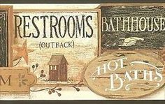 Wallpaper Borders For Country Bathrooms   Country Bathroom Signs Straight  Edge Wallpaper Border WT1082BCS