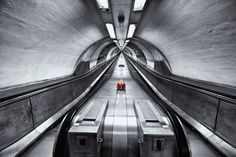 London Underground - London underground, London, UK.  5 exposures processed in Photomatix Pro, B & W and selective colour achieved in Silver Efex Pro 2 and completed work in Photoshop CS5.