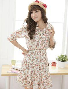 Women Sweet Style Ruffle Trim Half Sleeve Floral Printed Dress - Item 702875 at Eastclothes.com