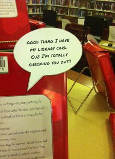 Good thing I have my library card, cuz I'm totally checking you out! Library Work, Library Bulletin Boards, Dream Library, Library Signage, Library Programs, Library Inspiration, Library Ideas, Library Book Displays, Library Activities