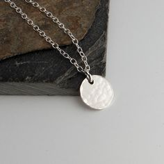 Silver Disc Necklace,Delicate Silver Jewelry,Dainty Silver Necklace,Minimalist Necklace,Simple Necklace,Layered Necklace,Gift For Her by FAJMinimalist on Etsy
