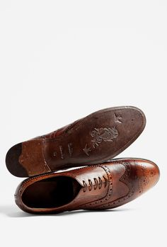 Paul Smith Shoes | Chocolate Burnished Leather Chuck Brogues by Paul Smith Shoe | Raddest Men's Fashion Looks On The Internet: http://www.raddestlooks.org