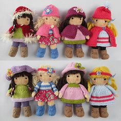KNITTING PATTERN contains instructions for Little Belles - 4 fashionable little dolls that are fun to make and only require small amounts of yarn. Each one has a summer outfit and a winter outfit and hats and capes are interchangeable.♡