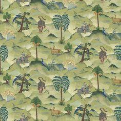 LW067 Aesop 1 Green | Fable Wallpaper | Wallpaper | Domestic