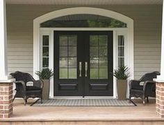 Love the doors Double Front Entry Doors, Entry Door With Sidelights, Black Front Doors, Painted Front Doors, Glass Front Door, Black Door, Glass Doors, Door Entry, Traditional Front Doors