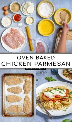 Oven Baked Chicken Parmesan, Easy Baked Chicken, Chicken Cooking Times, Cooking Recipes, Healthy Recipes, Healthy Meals, Gluten Free Bread Crumbs, American Dishes, Fast Easy Meals