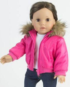 """18 Inch Doll Jacket in Fuchsia Pink Puffy Jacket W/ Faux Fur Trim Collar Fits 18"""" American Girl Dolls & More! Doll Coat Fuchsia Puffy Jacket & Fur Collar Sophia's http://www.amazon.com/dp/B00CBH2AGW/ref=cm_sw_r_pi_dp_pJ6Kub0XMAKSB"""