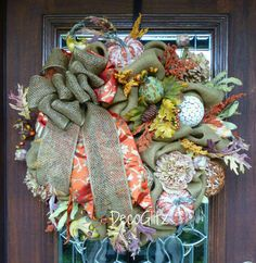 FALL BURLAP Wreath with Pumpkins Gourds and ELEGANT by decoglitz