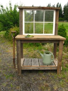 Potting bench ideas: Rustic Potting Bench with an old window