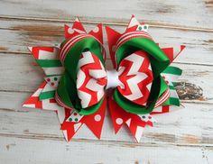 Christmas Hair bows, Red, Green, Chevron, Christmas headband, Girls hair bows…