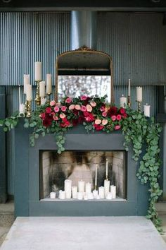 mantel decorating ideas for spring gray mantel with rose garland