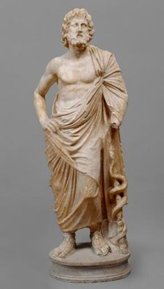An ancient Greek marble figure of Asklepios, god of healing, with his symbolic attribute: a snake-entwined staff. Ancient Greek Sculpture, Ancient Greek Art, Ancient Greece, Greek Artifacts, Ancient Artifacts, Classical Antiquity, Classical Art, Roman Sculpture, Sculpture Art