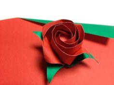達人折りのバラの折り紙33 Only one origami rose33 - YouTube. Literally one piece of double sided paper.
