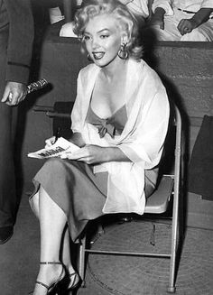 Marilyn at a Baseball game in 1952.