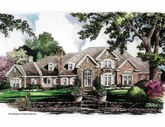 No expense is spared in this lavish French Country luxury home plan.The foyer features a dramatic curved staircase. The living room is on one side and the family room with fireplace on the other.The kitchen is accompanied by a spacious butler French Country House Plans, European House Plans, Luxury House Plans, Dream House Plans, House Floor Plans, Country French, Low Country, Modern Country, Home Design
