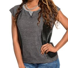 Gray top with faux leather accents This gray short sleeved top has quilted faux leather panels in the sides. S=, M, L Brand new from the vendor. Tops