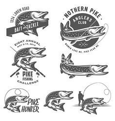 Vintage pike fishing emblems and logos vector by ivanbaranov on VectorStock®