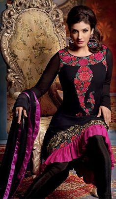 G3 fashions Raveena Tandon Black Georgette Wedding Wear Salwar Suit.  Product Code : G3-LSA103969 Price : INR RS 3142