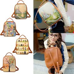 NEW Retro Women Color Printing Casual Backpack Handbag School Shoulder Bag #Unbranded