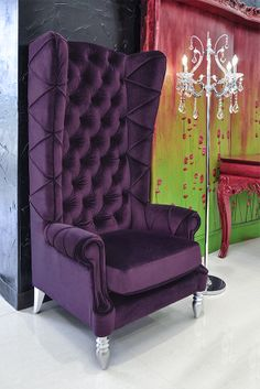 Superieur Baroque High Back Chair   Purple Chair