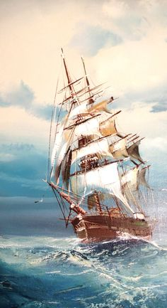 Vintage Original Clipper Ship Oil Painting Signed by HarpersFlea