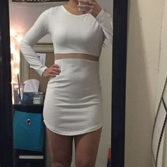 NWOT White Bodycon Dress w/ Middle Mesh - Medium Cute dress! NWOT Only worn to take this picture! Is a medium but fits more like a small. A little on the sheer side, I would recommend wearing nude undergarments Dresses Long Sleeve