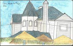 Casa desde la Playa. La Barrosa Lápices acuarelables