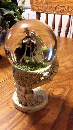 skeleton wedding couple halloween glass snow water globe on skeleton pedestal