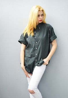 90's+retro+Boyfriend's+checked+oversized+designer+shirt