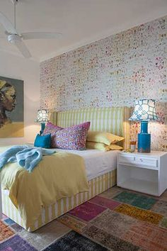 Michele Throssell Interiors Beach house Laid back, casual, comfortable textured interiors Interior design Guest bedroom colourful bright fresh bedroom Elitis wallpaper Colourful Bedroom, Bedroom Colors, Bedroom Decor, Interior Decorating, Decorating Ideas, Interior Design, Girls Bedroom, Bedrooms, Seaside Decor