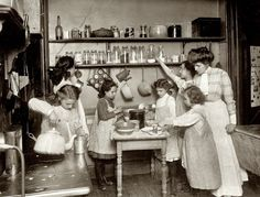 """""""Home economics in public schools. Kitchen in housekeeping flat, New York,"""" circa 1910. View full size. National Photo Company Collection glass negative."""