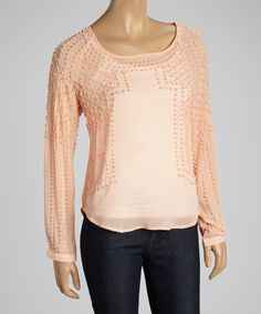 Look what I found on #zulily! Dani Collection Peach Beaded Top by Dani Collection #zulilyfinds