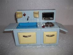 1 Vintage Battery Operated Tin Metal Toy Sink Stove not Working | eBay