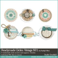 Readymade Circles: Vintage No. 01 -- love all the layers of these digi elements