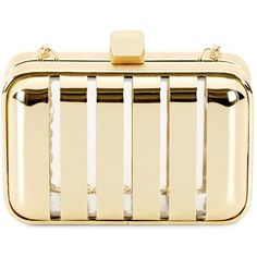 C. Wonder Gold Stripe Clutch ❤ liked on Polyvore featuring bags, handbags, clutches, gold, clear purse, chain strap crossbody, metallic crossbody, crossbody purse and over the shoulder purse