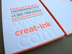 Letterpress Business Card Edge Painting Cartes De Visite En Relief Embossage Conception Imprime