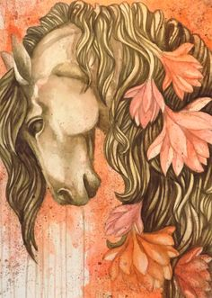 horse with magnolia flowers watercolors