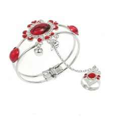 """Rosallini Oval Red Plastic Beads Metal Chain Finger Ring Bracelet for Girls Rosallini. $5.57. Main Color : Red, Silver Tone;Total Weight : 22g; Bracelet Girth : 21cm/ 8.3"""";Material : Plastic, Metal; Package Content : 1 x Finger Ring Bracelet; Ring Inner Diameter : 16.92mm / 0.666"""";Ring Circumference : 53.1mm / 2.09""""; Product Name : Finger Ring Bracelet;Ring Size : US: 6 1/2,UK: M 1/2"""